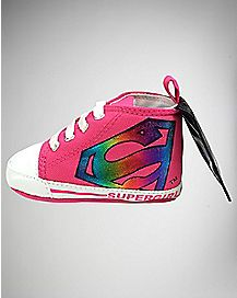 Caped High Top Supergirl Baby Shoes - DC Comics