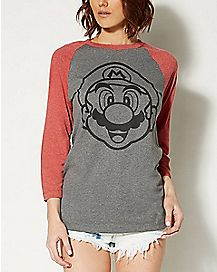 Face It Mario Nintendo Raglan T shirt