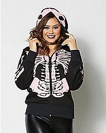 Skeleton Hoodie Black And Pink