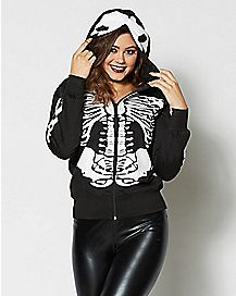 Skeleton Hoodie Black And White