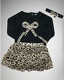 Bow Leopard Baby Dress 3 Piece