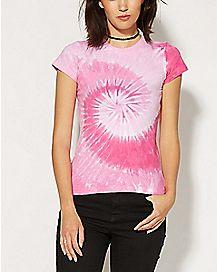 Pink Spiral Tie Dye T shirt