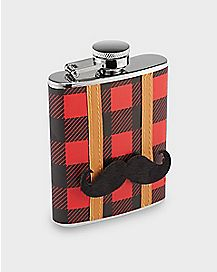 Plaid Mustache Hip Flask