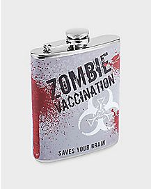 Zombie Vaccination Hip Flask - 7 oz