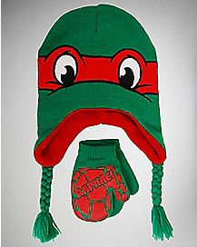 TMNT Raphael Toddler/Baby Laplander Hat Glove Set
