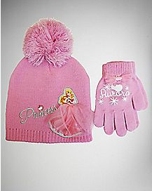 Aurora Disney Princess Toddler Beanie Hat Glove Set