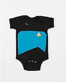 Black and Blue Star Trek Baby Bodysuit