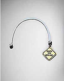 Baby On Board Pregnancy Belly Ring - 14 Gauge