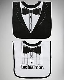 Tuxedo and Tie Pullover Bib 2 Pack