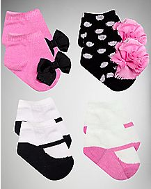 Fancy Bow and Flower Baby Socks 4 Pair