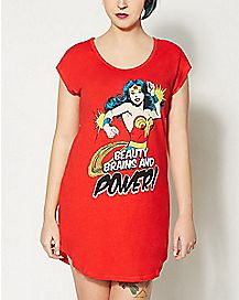 Beauty Brains and Power Wonder Woman Night Gown