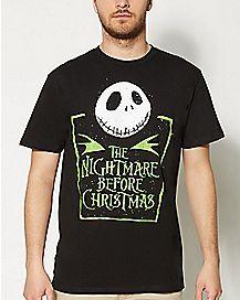 Green Print Nightmare Before Christmas T shirt