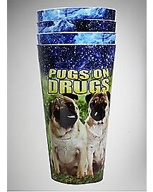 Pugs on Drugs Plastic Cup Set 22 oz