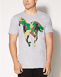 Green and Brown Camouflage Pony Deftones T shirt