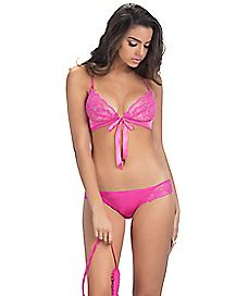 Soft Lace Front Tie Bra and Panties Set - Pink