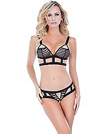 Strappy Jacquard Bra and Panties Set