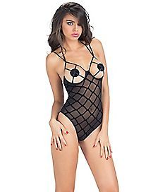 Flocked Mesh Open Cup Teddy with Pasties