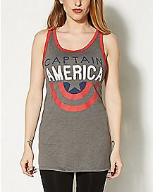 Half Shield Captain America Tank Top