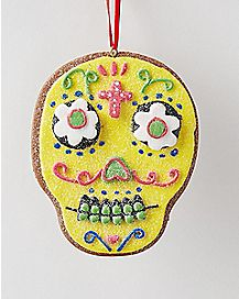 Clay Dough Yellow Sugar Skull Holiday Ornament