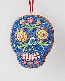 Clay Dough Blue Sugar Skull Holiday Ornament