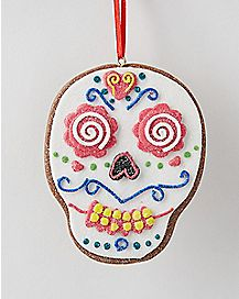 Clay Dough White Sugar Skull Holiday Ornament