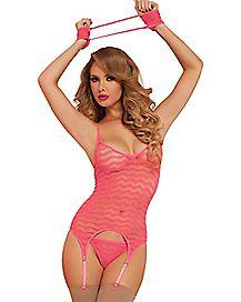 Seamless Scallop Net Cami Set - Pink