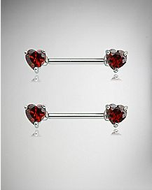 CZ Heart Barbell Nipple Rings- 14 Gauge