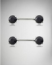 Black Cz Barbell Nipple Rings - 16 Gauge