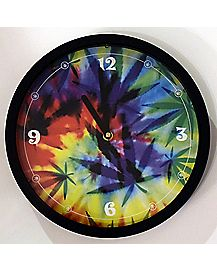 Tie Dye Leaf Wall Clock