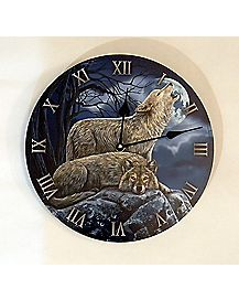 Lisa Parker Two Wolves Wall Clock