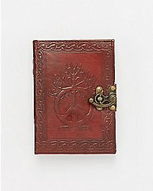 Peace Sign Locking Leather Journal
