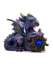 Resin Dragon With Blue Stone Figure