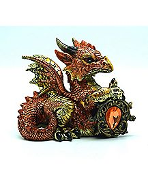Copper Dragon With Orange Stone Figure