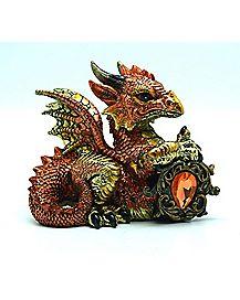 Copper Dragon With Orange Stone Figure