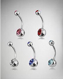 Multicolor Cz Barbell Belly Ring 5 Pack - 14 Gauge