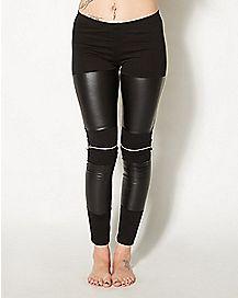 Faux Leather Black Zipper Leggings