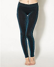 Teal Metallic Leggings