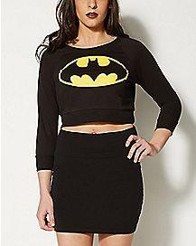 Logo Batman Long Sleeve Crop Top