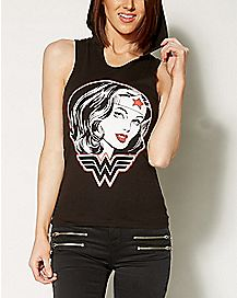 Hooded Wonder Woman Tank Top - DC Comics