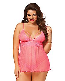 Plus Size Sugar Coral Babydoll and Thong