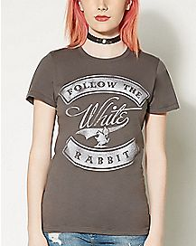 Follow The White Rabbit Alice In Wonderland T shirt