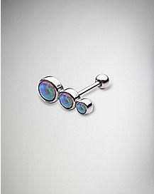 Pink Opal-Effect Teardrop Cartilage Earring - 18 Gauge