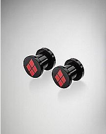 Black Harley Quinn Ear Plug 2 Pack