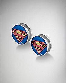 Red and Blue Superman Logo Plug 2 Pack