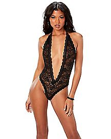 Heart Back Lace Teddy - Black