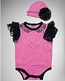 Polka Dot Lace Baby Bodysuit and Hat Pink Black