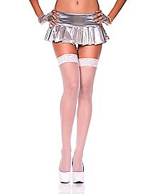 Lace Top Fishnet Thigh High Stockings - White