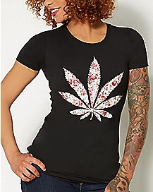 Pot Leaf Floral Print T shirt