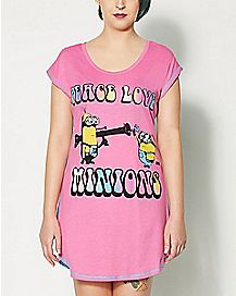 Peace Love Despicable Me Plus Size Pajama Shirt