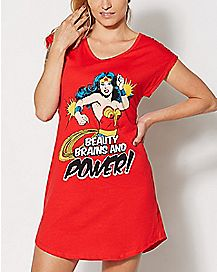 Beauty Brains Wonder Woman Sleep Shirt